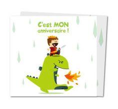 carte invitation anniversaire dragon et chevalier - www.planet-cards.com