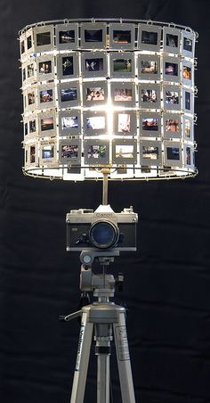 The base would look good with a white or black linen or burlap shade. This some functional art furniture that I made. It's a camera lamp with a slide lampshade. There are more for sale if anyone is interested. Art Furniture, Deco Cinema, Diy Luz, Diy Light Fixtures, Vintage Cameras, Lamp Shades, Recycling, Diy Projects, Camera Decor