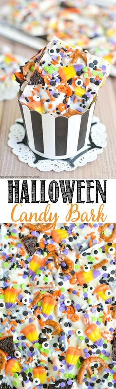 OREO Candy Bark Use your leftover Halloween candy to treat the whole family with candy bark!Use your leftover Halloween candy to treat the whole family with candy bark! Halloween Party Snacks, Halloween Desserts, Dulces Halloween, Bonbon Halloween, Pasteles Halloween, Halloween Oreos, Manualidades Halloween, Birthday Party Snacks, Healthy Halloween