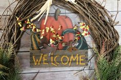 Large Fall Grapevine Wreath, Welcome Sign for Front Door, Welcome Home Signs, Autumn Fern, Rustic Home Decor, Welcome Sign for Porch