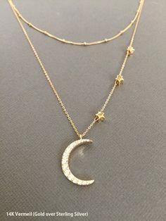 Mond und Sterne Halskette 18K Vermeil Halbmond Mond ich