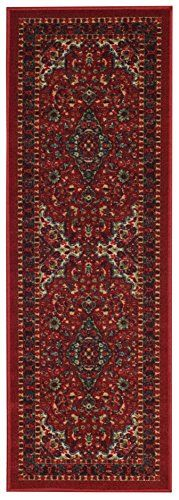 Anti-Bacterial Rubber Back RUGS RUNNERS Non-Skid/Slip 2x5 Runner Rug   Red Traditional Floral Indoor/Outdoor Thin Low Profile Modern Home Floor Bathroom Kitchen Hallways Colorful Decorative Rug