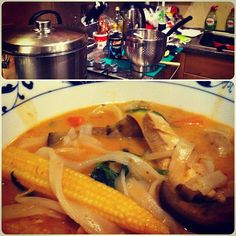 Laksa Laksa, Yummy Food, Yummy Recipes, Thai Red Curry, Food To Make, Favorite Recipes, Ethnic Recipes, Drink, Kitchen