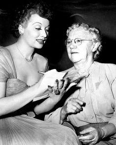 """Lucille Ball enjoys a visit with her grade school teacher, Mrs. Mary Appleby of Jamestown, New York, who made her first visit to Hollywood while Lucille was starring with Bob Hope in Paramount's """"Sorrowful Jones. I Love Lucy, My Love, Queens Of Comedy, Lucille Ball Desi Arnaz, Lucy And Ricky, Life Touch, Bob Hope, Gorgeous Redhead, Madly In Love"""