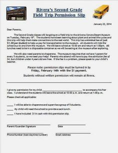 Field Trip Permission Slips | Field trip permission slip, Field ...
