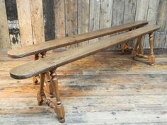 A pair of oak and maple benches   1860 England.
