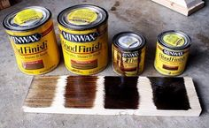 Ana White Homemaker - Minwax wood finishes from left to right: Special Walnut, Provincial, Dark Walnut, Jacobean oil-based stain Refurbished Furniture, Paint Furniture, Furniture Projects, Rustic Furniture, Furniture Makeover, Furniture Refinishing, Furniture Stores, Bedroom Furniture, Diy Projects