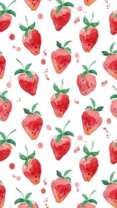 Strawberry Pattern Summer iPhone Wallpaper Home Screen @PanPins