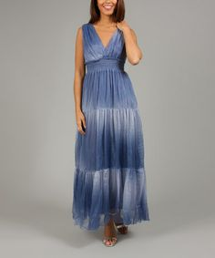 Love this Blue Jean Ombré Luna Surplice Maxi Dress by Anabelle on #zulily! #zulilyfinds
