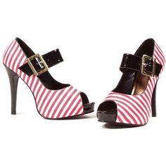 ELLIE Retro Red and White Stripe