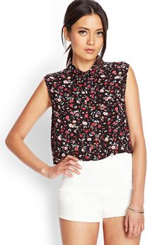 Forever 21 - Delicate Floral Cropped Shirt Product Code : 2000061859