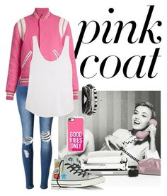 """""""Pink Coat"""" by anafilipafonseca2004 on Polyvore featuring WithChic, Yves Saint Laurent, Frame, Converse and Casetify"""