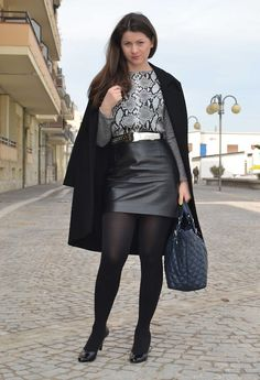 Leather skirt and black pantyhose outfit