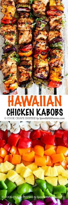 Two Easy BBQ Recipes Grilled Hawaiian Chicken Kabobs. Tender juicy chicken layered with a rainbow of veggies in a tangy Pineapple Honey BBQ Sauce. The perfect quick & easy summer meal! Easy Summer Meals, Summer Recipes, Easy Meals, Summer Bbq, Summer Drinks, Grilling Recipes, Cooking Recipes, Healthy Recipes, Kabob Recipes