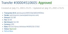 AdClikXpress, FOURTEENTH Withdrawal Proof!!! I am setting my proof withdrawal money I earned at ACX. Making my daily earnings is fun, and makes it a very profitable! Work from home at ACX. No scam. http://www.adclickxpress.com/?r=nebmil&p=immd