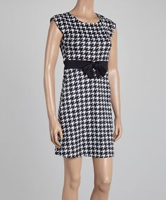 Look what I found on #zulily! Black & White Houndstooth Bow A-Line Dress #zulilyfinds