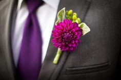 Purple dahlia & green hypericum berries