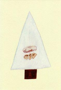 秋山 花 : CICOUTE BAKERY クリスマスケーキ/ シュトーレンのお知らせDM / AD:前田景 My Favorite Things, Drawings, Illustration, Holiday, Artist, Pastel, Painting, Graphics, Color