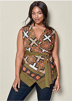 Tie Printed top to accent your curves  Women's Blouses, Shirts & Tunics – VENUS