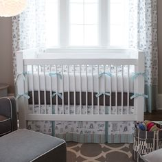 Mist and Gray Owls Crib Bedding #carouseldesigns