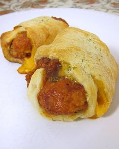 BBQ Chicken Crescents - frozen chicken tenders dipped in BBQ sauce, cheddar cheese and crescent rolls. Kids go crazy over these! Can freeze leftovers for a quick snack later.