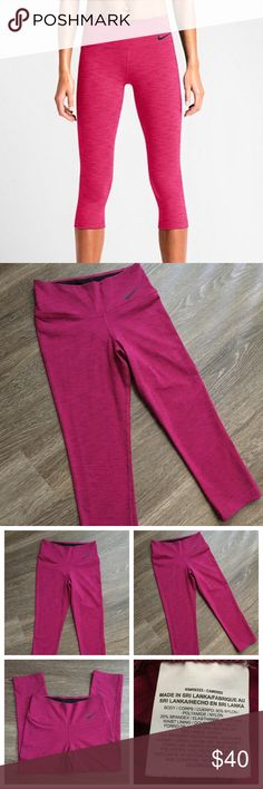 Nike Power Legendary Dri-Fit Capri Leggings XS Never got a chance to wear these and am no longer a xs! Brand new without tags dark pink capris. Nike Pants Leggings