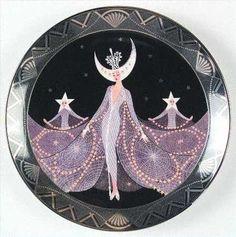 Queen of the night by Erte Copyright Franklin Mint best rated Erte' Art Deco Artists, Artist Art, Erte Art, Romain De Tirtoff, 23 November, Franklin Mint, French Artists, Illustration Art, Vintage Illustrations