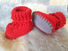 Knitted Baby Booties with Sheepskin Soles