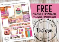 Free Printable Donuts Planner Stickers from Victoria Thatcher