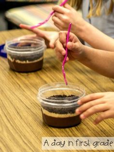 digging for dinosaur fossils in dirt cups-- SO FUN!