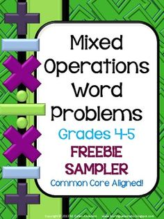 #sharethewealth #aneducatorslife FREE- Mixed Operation Common Core Word Problem FREEBIE: Grade 4-5
