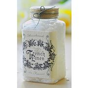French Linen dressed up vintage jar