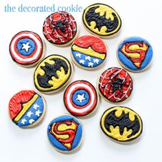 bite-size Superhero cookies | The Decorated Cookie