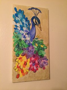 42 Ideas wall drawing kids paper for 2019 Thumb Painting, Peacock Painting, Peacock Art, Diy Wall Art, Diy Art, Wall Art Decor, African Art Paintings, Easy Paintings, Paint Chip Art