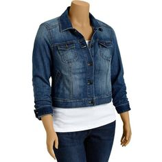 Old Navy Womens Plus Cropped Denim Jackets ($40) ❤ liked on Polyvore