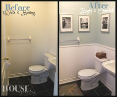 Small bathroom makeover | add trim and paint top and bottom different colors - so simple!