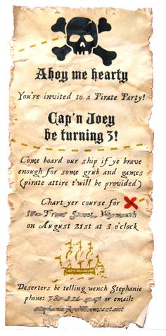 Aged Pirate Party Invitation PRINTED