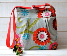 Mimosa Gray Diaper bag  Messenger  spring with garnet by ikabags