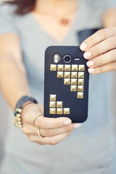 LOVE this idea    In Honor Of Design: DIY Studded phone case