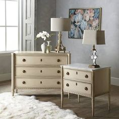 Modeled after a French antique, our marble-topped chest exudes 18th century refinement with a patinated dovetail fa, brass ring handles and cast escutcheons. For a unique twist, we concealed a secret storage compartment in the bottom drawer. Finished with fluted column legs and tapered arrow feet, it's a beautiful accent from top to bottom. Design based on an antique French dresser Crema Marfil Marble tops the Antique White chest Honed Carrara Marble tops the Fren...