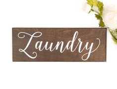 Rustic Laundry Sign Decor- Honeysuckle and Pine- farmhouse laundry wall decor- rustic wood sign- laundry sign Rustic Wood Signs, Rustic Wall Decor, Neutral Gray Paint, Laundry Room Signs, Grey Stain, Walnut Stain, Rustic Lighting, Paint Designs, Pine
