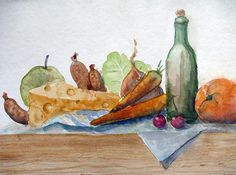 Still life watercolor. Food painting, cheese, sausage, carrot, apple, wine bottle, orange and sallat on a wooden bench. Original Ilse Hviid.