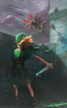 Link and Skullkid by SpoonfishLee on DeviantArt. via: http://spoonfishlee.deviantart.com/