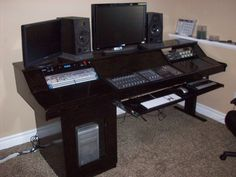 Elegant Black Wood Studio Desk Designs With Useful E To Save The Electronic Tools For Interior Furniture Ideas