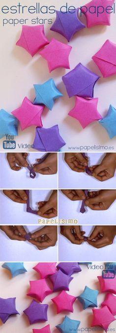 Estrellas de papel 3D | http://papelisimo.es/estrellas-de-papel-3d/: