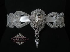 BROADWAY BRIDAL SASH - Vintage Crystal Wedding Belt Rhinestone Dress Diamond 13