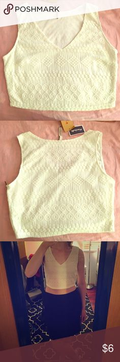 Crochet/lace V Neck Crop Tank Creamy white crochet detailing with side zip (on left side only). New with tags! :) Paper Crane Tops Crop Tops