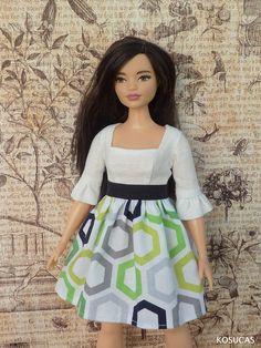 Kleidung & Accessoires Mode-, Spielpuppen & Zubehör Sommerkleid KLEID für BARBIE CURVY Handarbeit UNIKAT Spitzenoptik