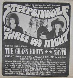 ConcertPosterArt.com - Steppenwolf Grassroots Oakland Coliseum Concert Poster Type Ad