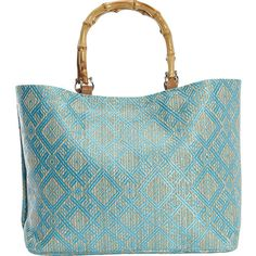 Magid Paper Straw Tribal Print Bamboo Tote (€36) ❤ liked on Polyvore featuring bags, handbags, tote bags, purses, blue, tribal tote, tote hand bags, blue tote bag, man tote bag and purse tote